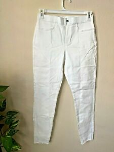 Hue Studio Women's M Jeans Leggings White High Rise Frayed Hem Edge