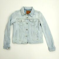 New Levis Womens Embroidered Sleeve Button Up Jean Denim Trucker Jacket M