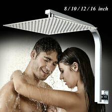 Wall Mount Rainfall Square Shower Head W/ Gooseneck Shower Arm Mixer Faucet Taps