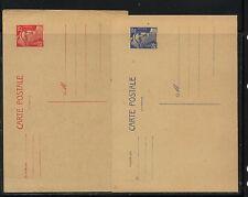 France   2  postal  cards  15f, 12 f   unused       APL1120