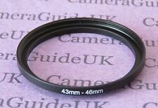 43mm to 46mm Male-Female Stepping Step Up Filter Ring Adapter UK 43mm-46mm