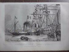 GRAVURE MARINE 1840 TRANSBORDEMENT DE NAPOLEON A CHERBOURG 8 DECEMBRE 1840