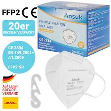 20 x FFP2 Maske Atemschutz-Maske CE-Zertifiziert einzeln verpackt 901223 Weiß