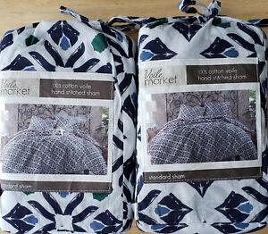 2) Voile Market Standard Shams MSRP $80 100% Cotton Face & Reverse