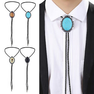 Mens Bolo Tie Vintage American Necklace PU Leather Rope Western Cowboy