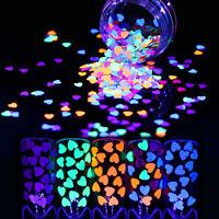 1g Fluorescent Glitter Nail Sequins 4mm Heart Shape Flakes Nail Paillette Tips