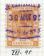 SWITZERLAND;     1890s Canton Bern Tax Stamp fine used Dated cancel 15c.