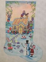 Needlepoint Handpainted Danji CHRISTMAS Stocking Mouse in Gingerbread House 20""