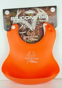 Realtree Xtra Colors Silicon Bib 6 Months+ BPA Free Orange New Baby T2