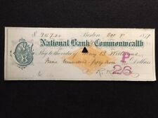 1879 **NATIONAL BANK OF THE COMMONWEALTH** $959.20  BANK CHECK!  NOTABLE PERSON!