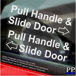 2 x Pull Handle and Slide Door to Open Stickers WINDOW Mini Cab Taxi Car Signs