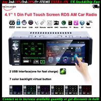 4.1''1 Din Autoradio Plein écran Tactile 2USB RDS MP5 Lecteur AM FM Bluetooth AM