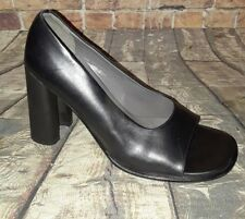 Bally Vintage Square Open Toe spool Heel Black leather high heels size 6.5 Italy