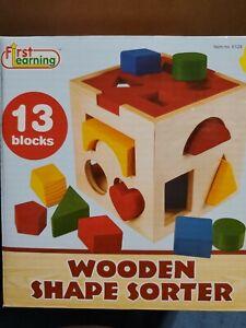 Shape Sorter Toy  Wooden 13  Blocks