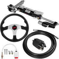 Boat Hydraulic Steering System Kit Outboard Cylinder Helm 300HP With Wheel