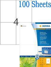 100 Sheets Herma 10829 A4 Self Adhesive 4 Per Sheet Sticky Address Labels