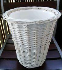 White Wicker Waste Basket With Liner