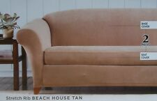 Surefit 2 Pc Sofa Slipcover ~ NIP Stretch Rib Beach House Tan