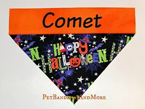 Personalized Dog Bandana Happy Halloween Spider Witch Over The Collar XS-XL