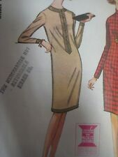 Vtg 1960s McCall's 7916 BUTTON TRIMMED SLIM DRESS Sewing Pattern Women Size 14