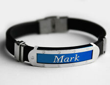 MARK - Mens Silicone & Blue Name Plate Engraved Bracelet - Identity Gifts