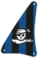 Lego - Cloth Sail Triangular 15 x 22 w/ Black and Blue Stripes, Skull & Cutlass