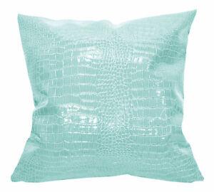 pd1010a Aqua Faux Crocodile Glossy Leather Cushion Cover/Pillow Case*Custom Size
