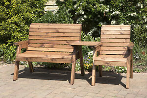 Home Gift Garden 3 Seat Solid Wood Outdoor Companion Set
