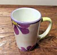 WORLD MARKET CERAMIC MUG LIGHT YELLOW  PURPLES GREENS FLORAL EUC FROM PORTUGAL