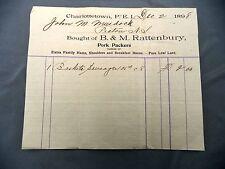 Letterhead Advertising B&M Rattenbury Pork Packers Bill 1898 PEI Murdoch Pictou