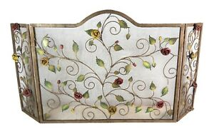 Antique French Iron Fireplace Screen With Applied Rose Decoration