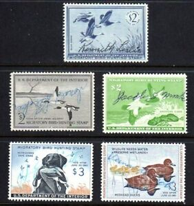 U.S. STAMPS #RW22-4,26-27 — (5) HUNTING PERMIT (DUCK) STAMPS 1955 USED