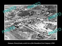 OLD LARGE HISTORIC PHOTO OF EMMAUS PENNSYLVANIA, AERIAL VIEW OF IRON Co c1940