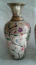 """Pair Cloisonne Vases With Birds & Flowering Foliage 8-1/2"""" Tall"""
