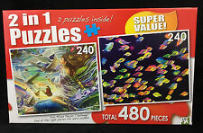 2 in 1 Jigsaw Puzzles by LPF Two 240pc Puzzles 11x9 School of Fish and Sky Fairy