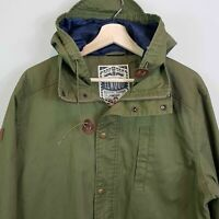ELWOOD Mens Size XL Military Green Hooded Coat Jacket