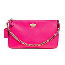 BID Coach Wristlet F53340 Pebbled Leather Large Pink Ruby Agsbeagle