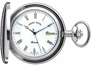 Pocket Watch Chrome Plated Half Hunter with Date Mechanical Movement Gift Box