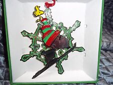 Lunt Peanuts Collection Ornament 3D Snoopy on Skiis With Big Snowflake