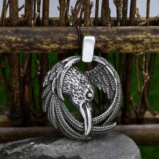 Men's Gothic Amulet Slavic Raven Rune Silver Pendant Norse Viking Necklace