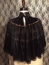Victorian Edwardian Style Cape Of Vintage Crepe Fabric & Lace#117