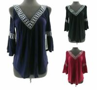 G Collection Womens V Neck Cold Shoulder 3/4 Bell Sleeve Top Casual
