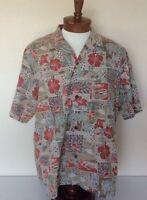 Royal Creations Mens XL Hawaiian Shirt Brown Block Print Floral Sea Turtle