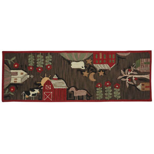 "Farm Life Hooked Area Rug Runner By Park Designs. Large Country Rug 24"" x72 """