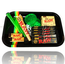 Medium Gift Set Tray Wise Skies Grinder RAW Black Rolling Paper Smoking Gift Set
