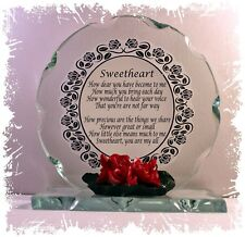 Sweetheart Crystal Glass Poem Plaque Birthday Girlfriend Special Gift #4