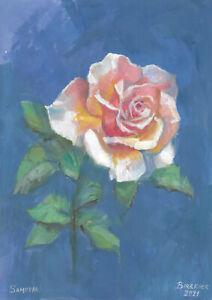 original painting A4 161PK art samovar acrylic Modern flower rose Signed 2021