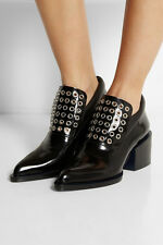 JIL SANDER Black Glossy Leather Eyelet Embellished Loafer Ankle Boot 9/9.5/40