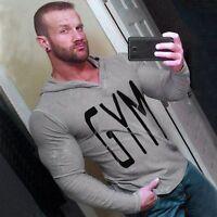 Men's Fit Gym T-Shirts Long Sleeve Hooded Sweatwears Sport Thin Casual Hoodies