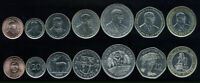 MAURITIUS SET 7 COINS 5 20 50 CENTS 1 5 10 20 RUPEES 1992-2007